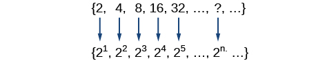 Sequence of {2, 4, 8, 16, 32, ...} expressed in exponential form (i.e., {2^1, 2^2, 2^3, ..., 2^n, ...}
